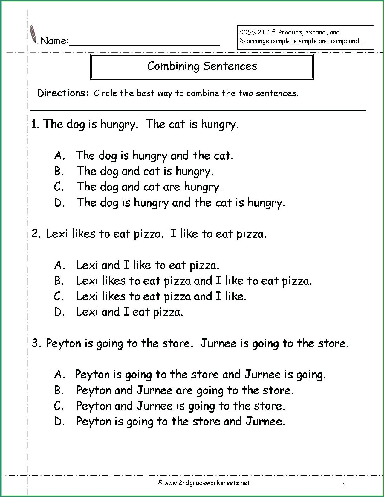 Writing Sentences Worksheets For 6th Grade Worksheet
