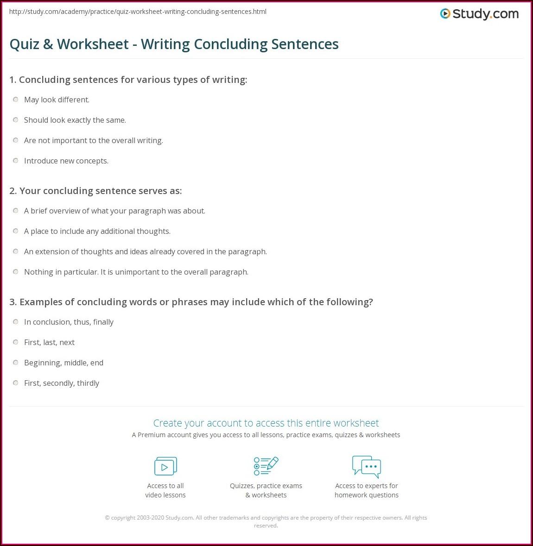 Writing Sentences Punctuation Worksheets Worksheet
