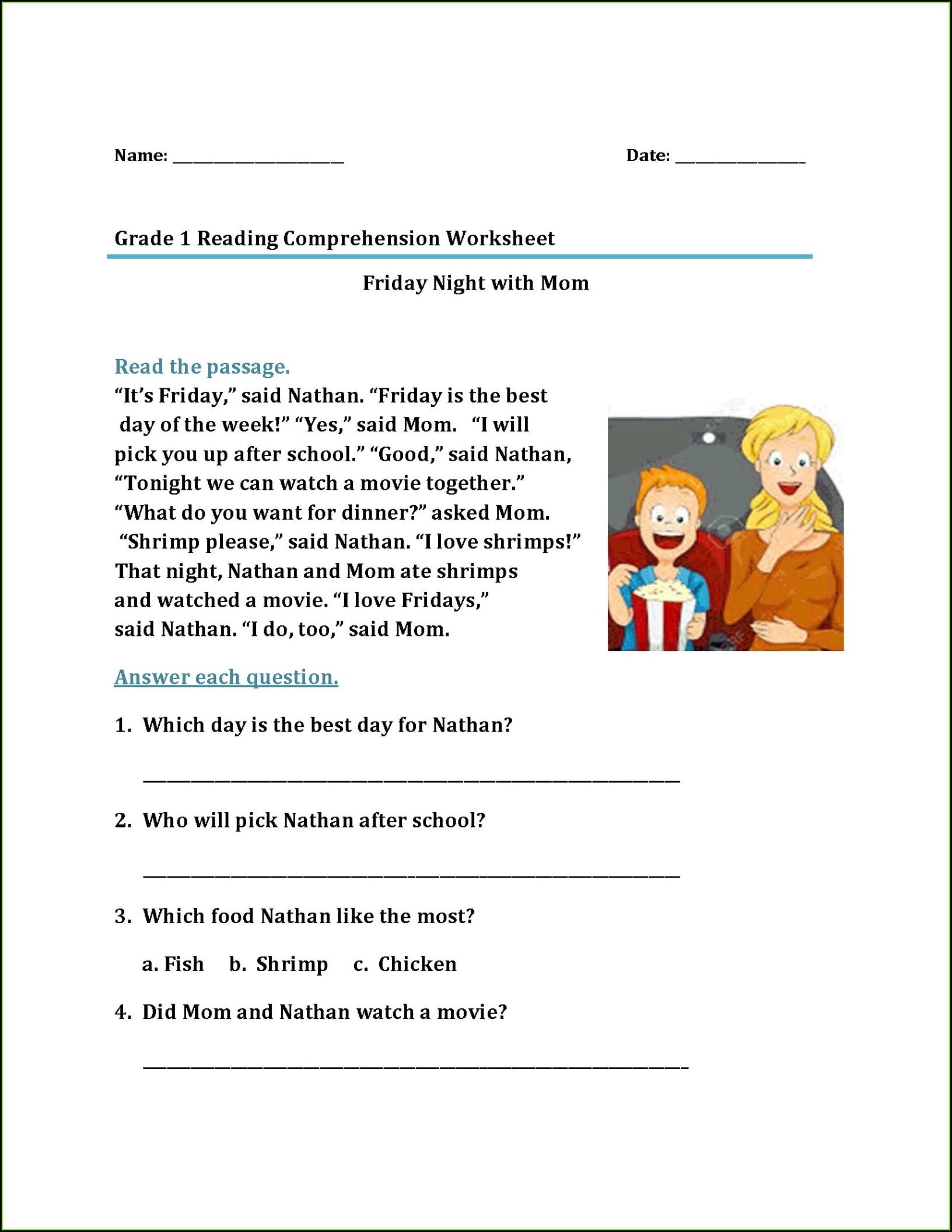1st Grade Worksheets Reading Worksheet Resume Examples
