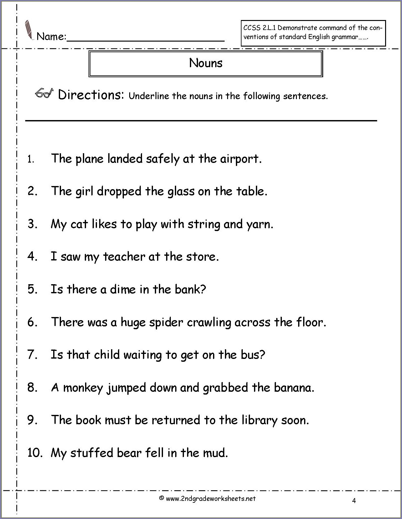2nd Grade Worksheets For Pronouns For Grade 2 Worksheet