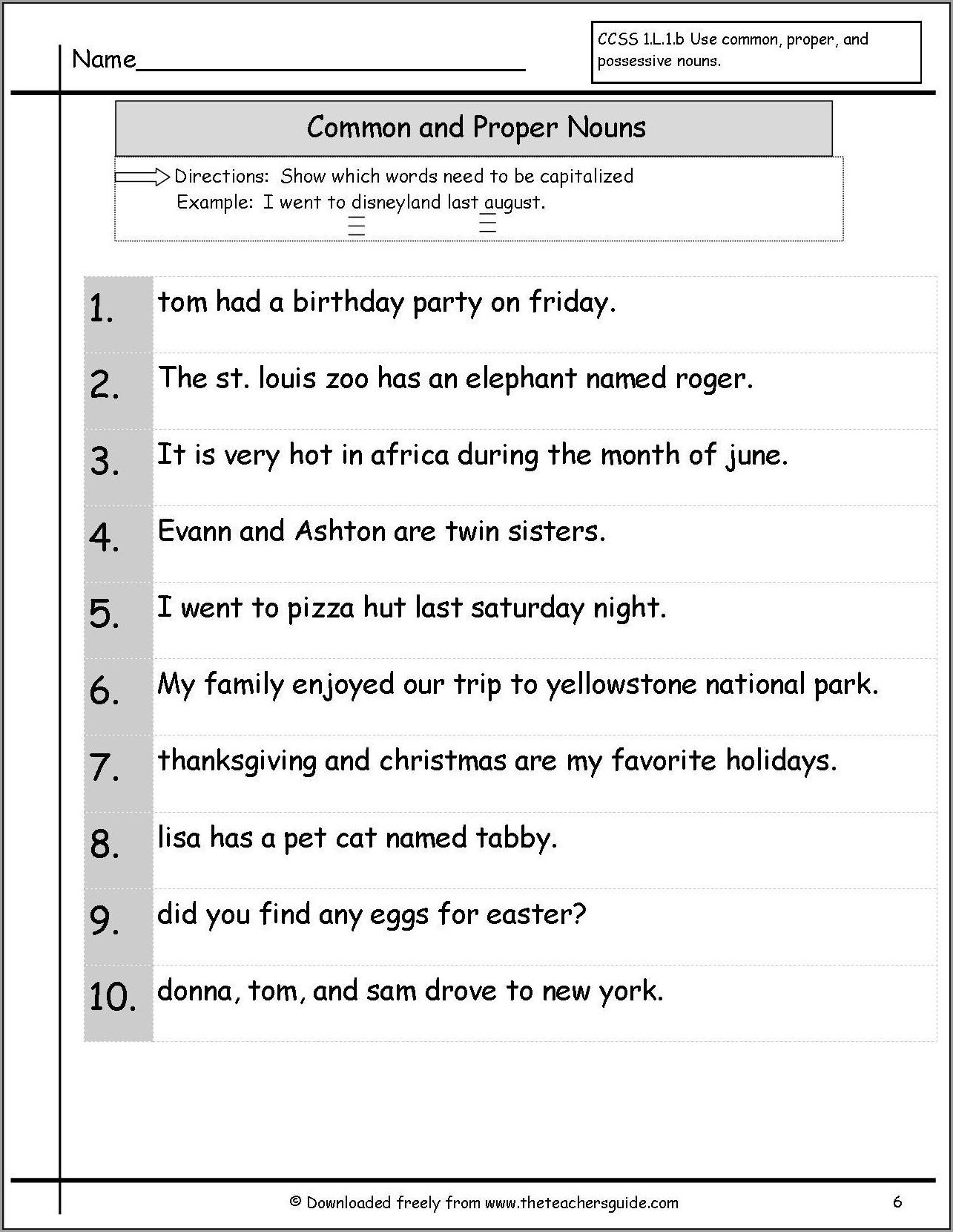 3rd Grade Capitalizing Proper Nouns Worksheet Worksheet