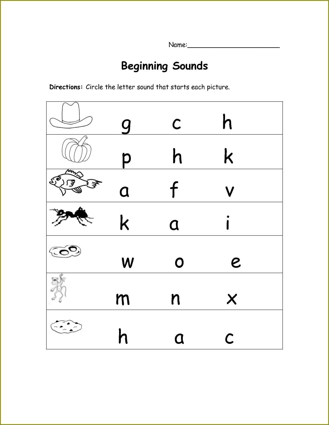 Free Printable Kindergarten Beginning Sounds Worksheets