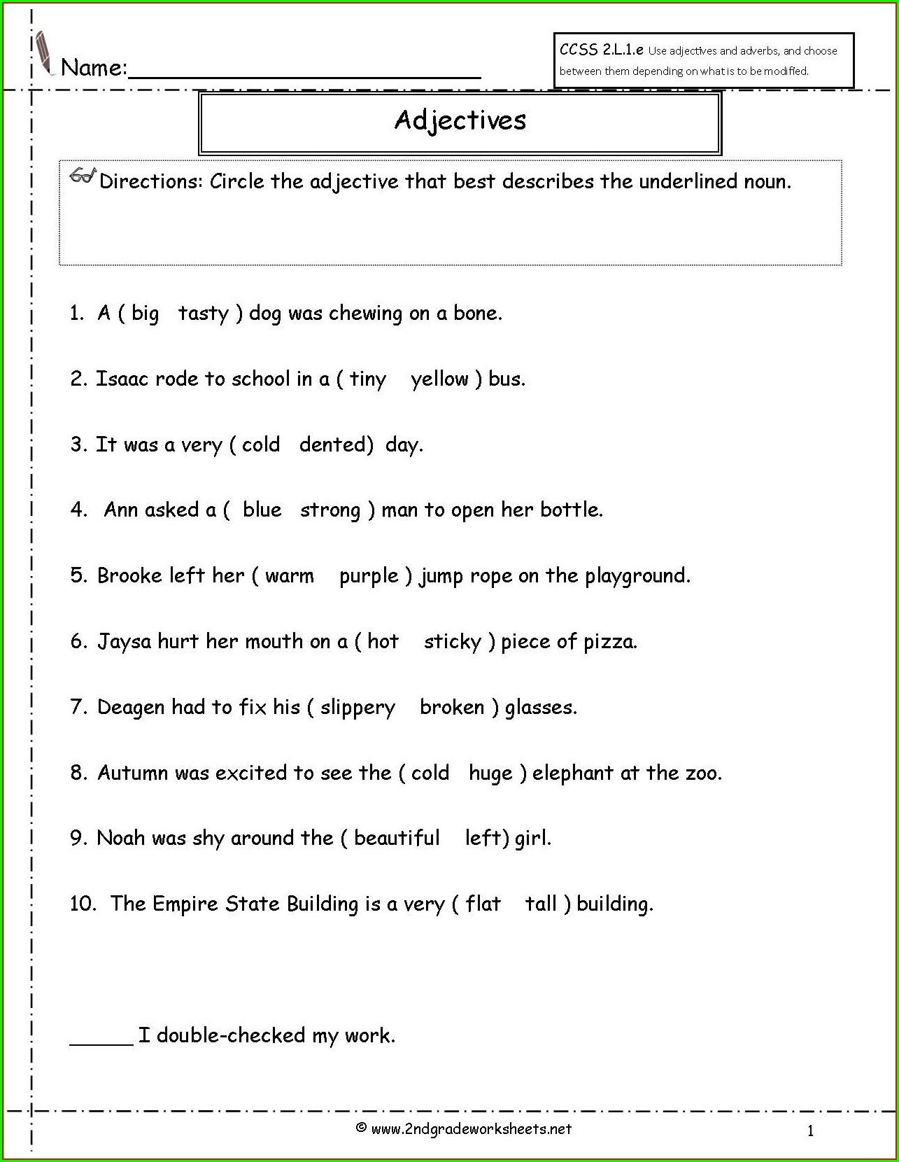 Grade 3 Grammar Worksheet Worksheet Resume Examples