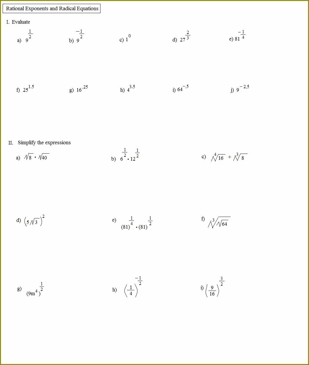 Grade 9 Laws Of Exponents Worksheet Uncategorized Resume