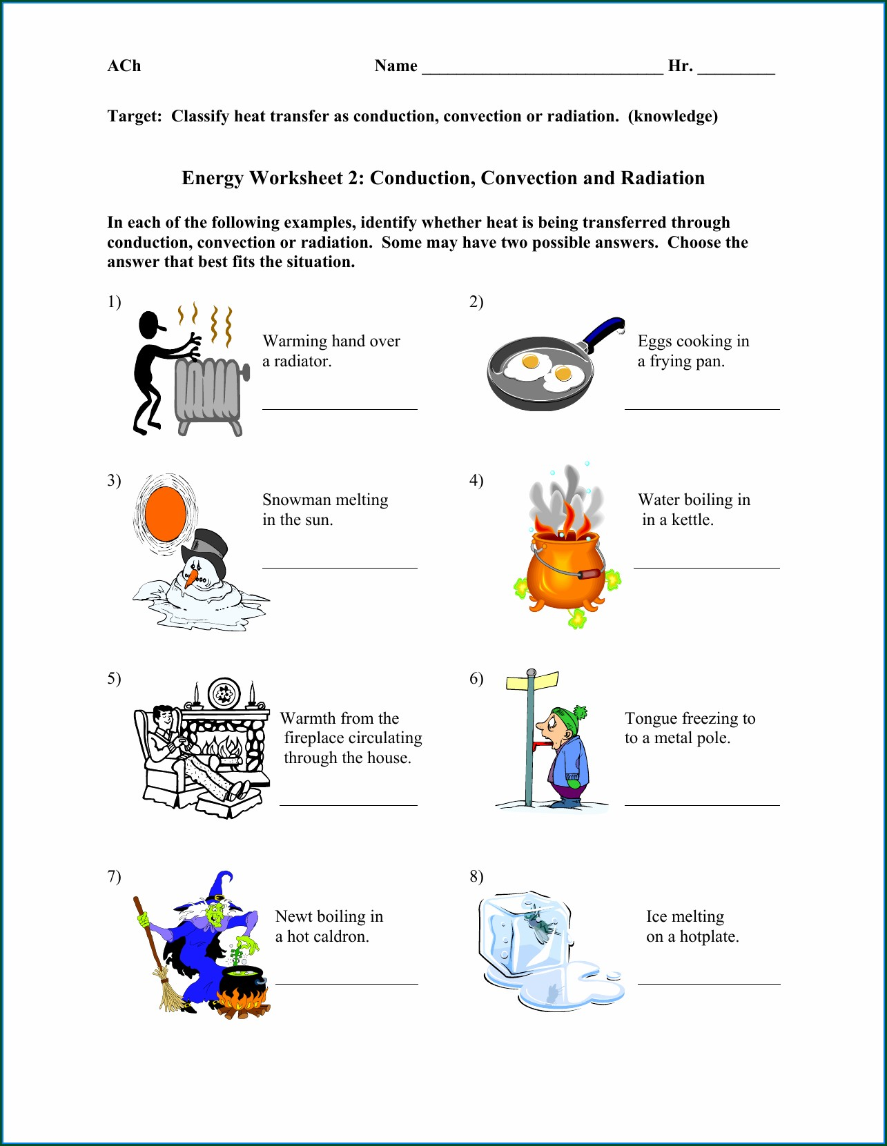 Physical Science Heat Energy Worksheet Worksheet Resume
