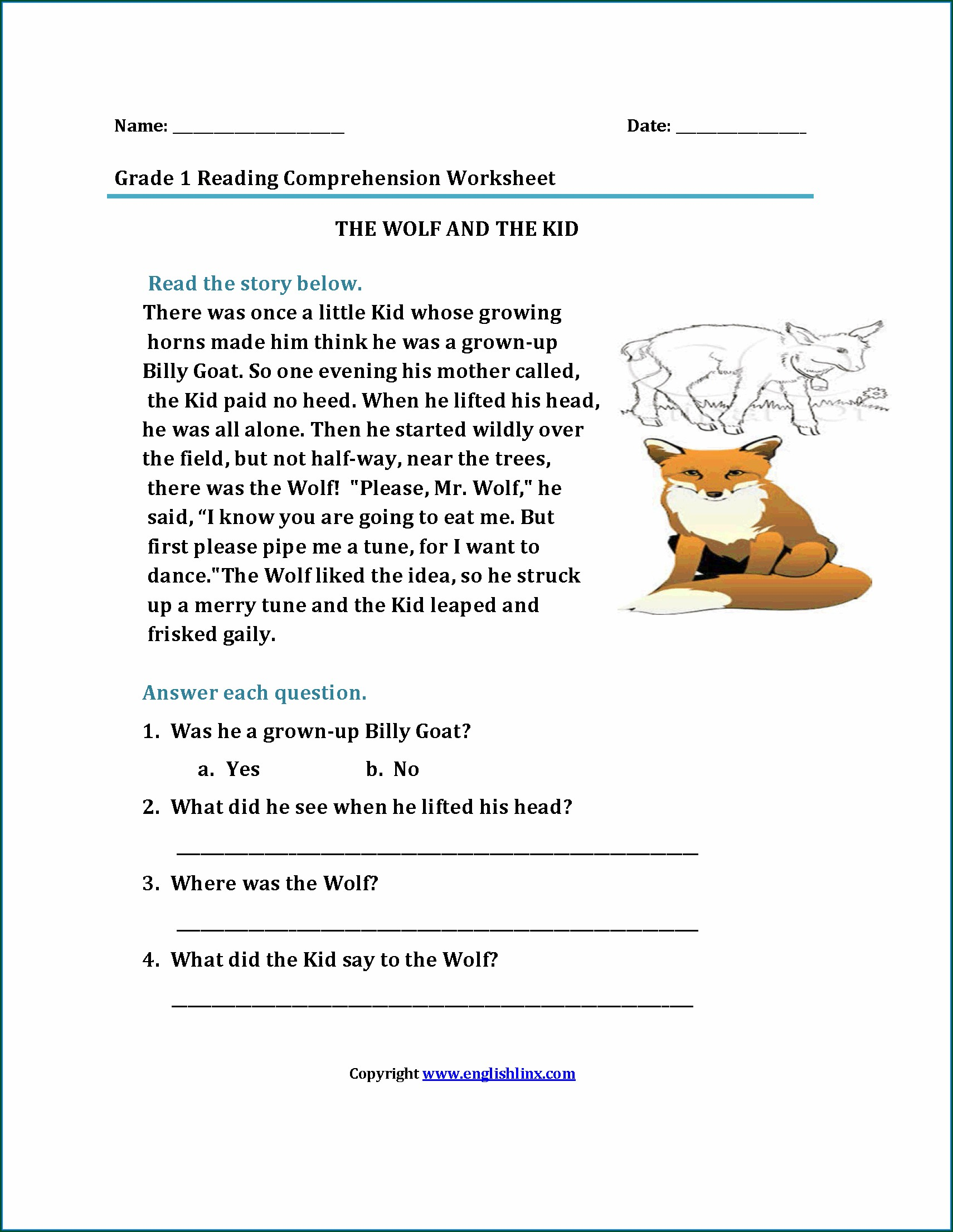 Printable Reading Comprehension Worksheets For 4th Grade