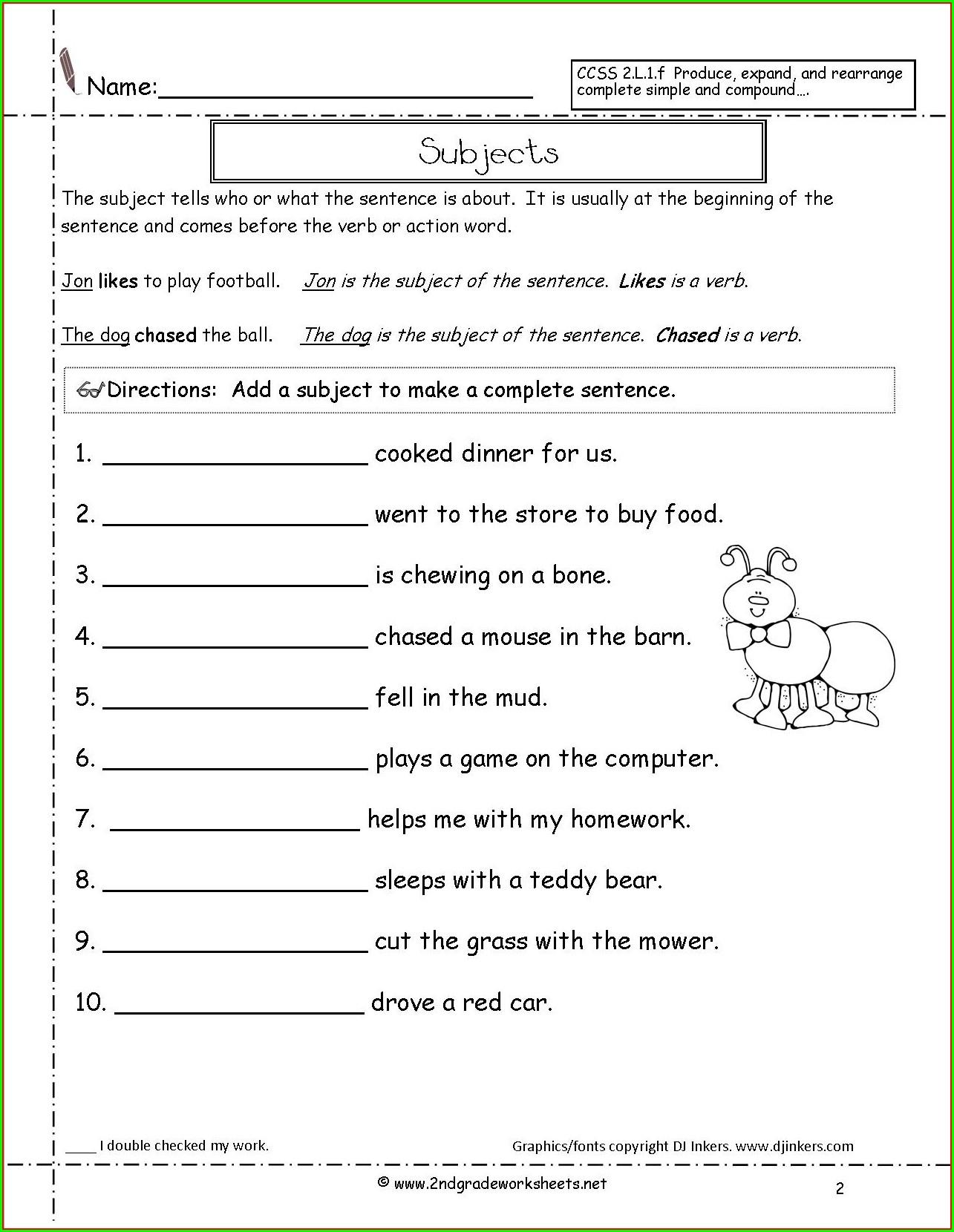 Second Grade Topic Sentence Worksheet 2nd Grade Worksheet