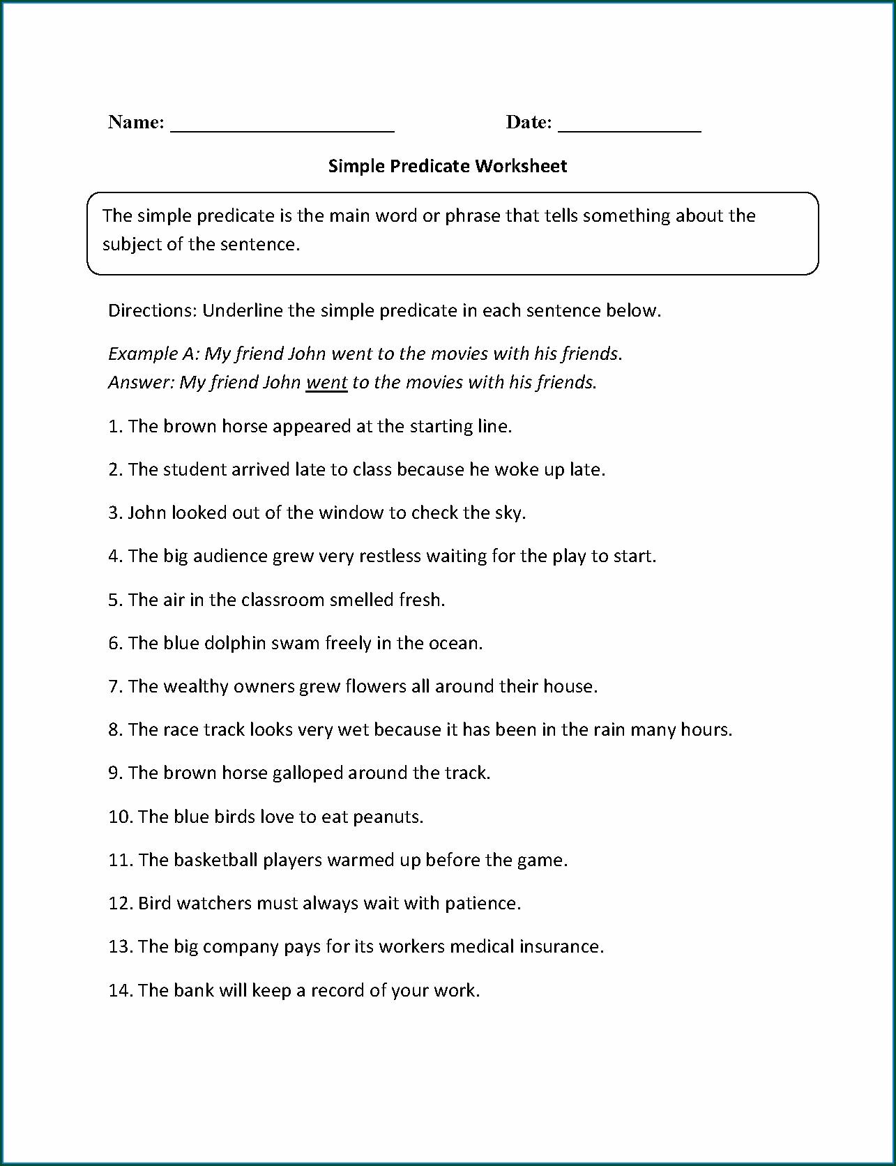 Simple Subject And Predicate Worksheet Worksheet Resume