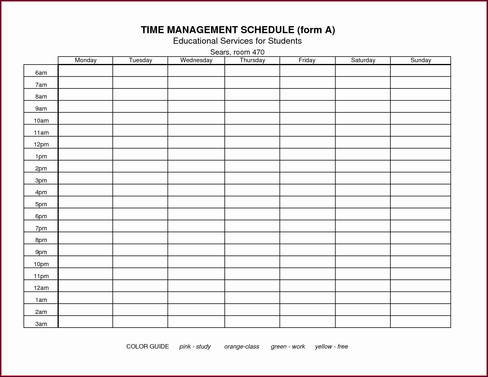 Time Management Worksheet College Students Worksheet