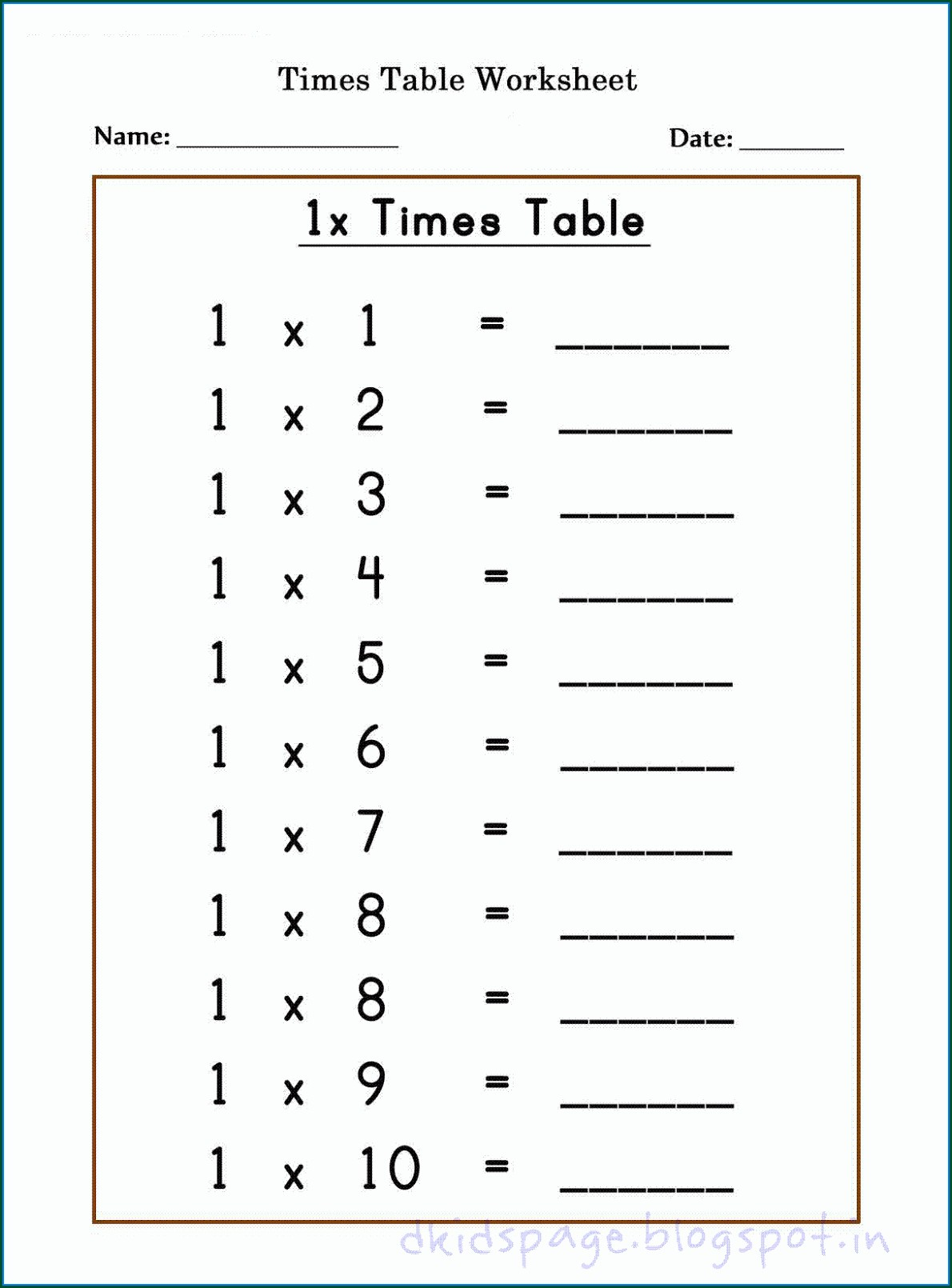 Time Table Worksheets 1 To 12 Worksheet Resume Examples
