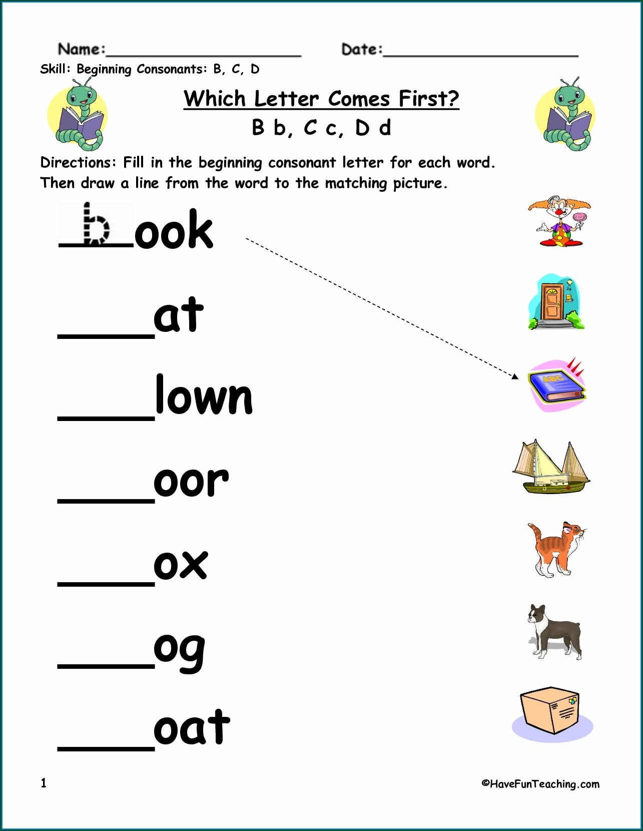 Word Matching Worksheets Kindergarten Worksheet Resume