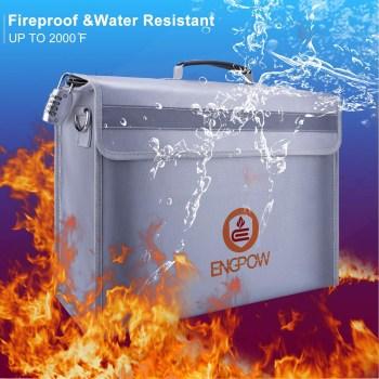ENGPOW Large Fireproof Lock Box Bag 16x12x5