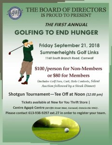 1st Annual Golfing To End Hunger @ Summerheights Golf Links | Cornwall | Ontario | Canada