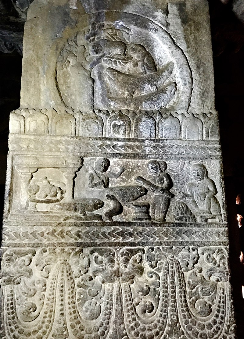 The woman and the mongoose Panchatantra fable is engraved in many historic Hindu temples such as at the 8th-century Virupaksha temple at Pattadakal (the middle panel).