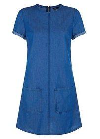 Blue Denim Patch Pocket Front Tunic Dress (£24.99) / Vestido Vaquero Azul con Bolsillos Frontales (29,99€) - NEW LOOK