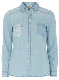 DOROTHY PERKINS Gingham Pocket Denim Shirt