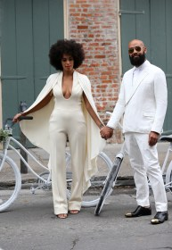 Solange wears a Stéphane Rolland Fall 2012 Couture jumpsuit with a cut-out back and cape
