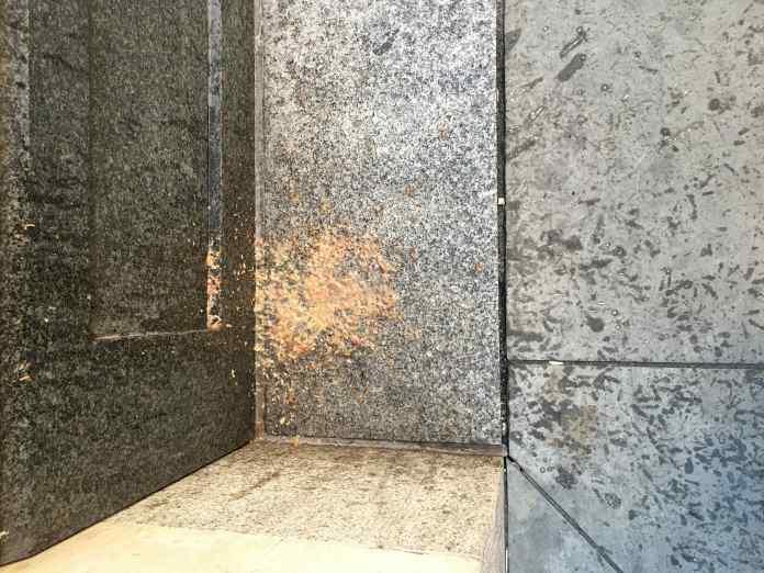 Soho pavement vomit-spattered