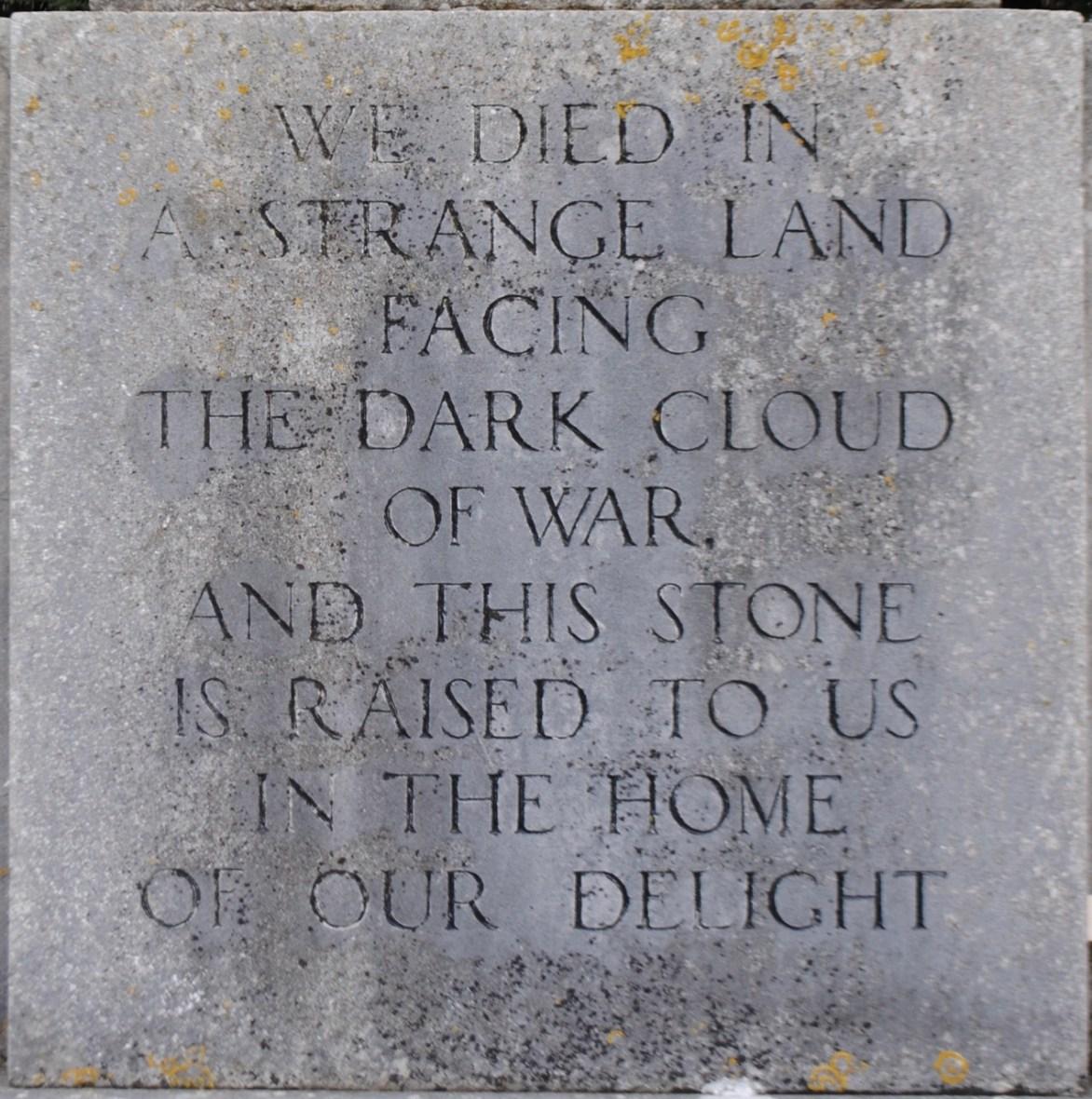 Mells war memorial inscription