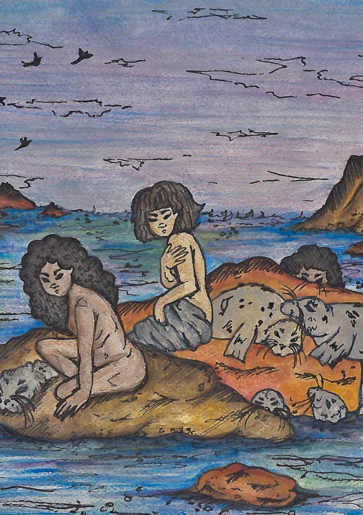 A colour drawing of two selkies sitting on rocks and one peering over from behind a rock