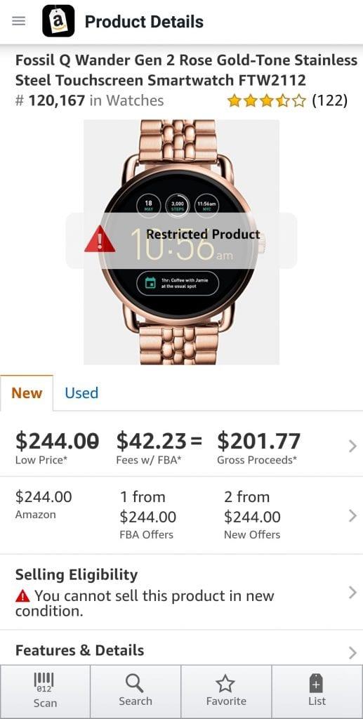 Capture d'écran de la montre restreinte dans l'application Amazon Seller