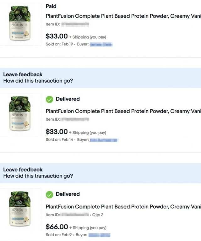 Vendu 4 bouteilles de protéines en poudre sur eBay avec JoeLister