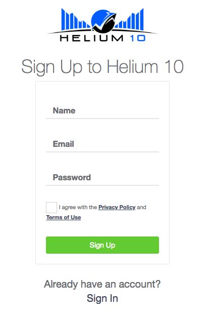 Page d'inscription pour Helium 10