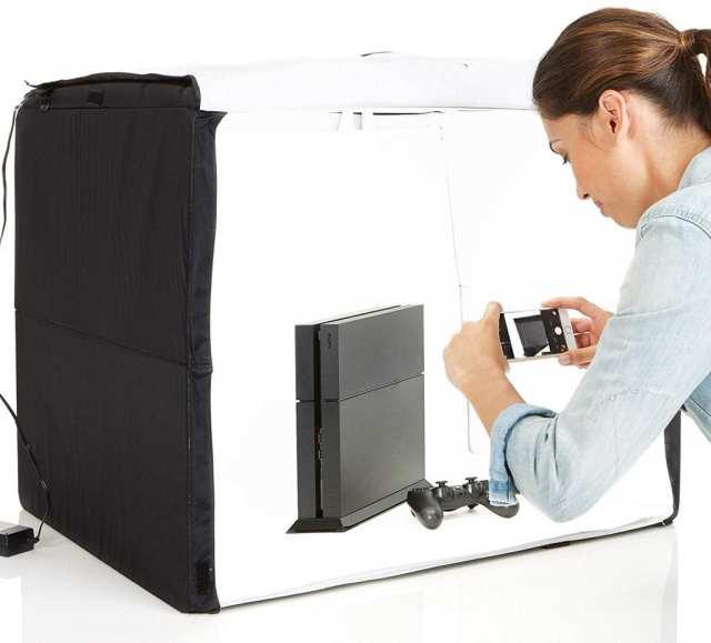 Studio photo portable en cours d'utilisation