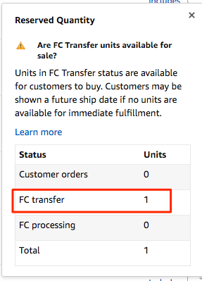 Amazon Seller Central FC Transfer