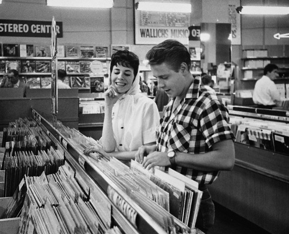 Vintage Rockabilly style-- Edie Cochran record shopping in the 50s.
