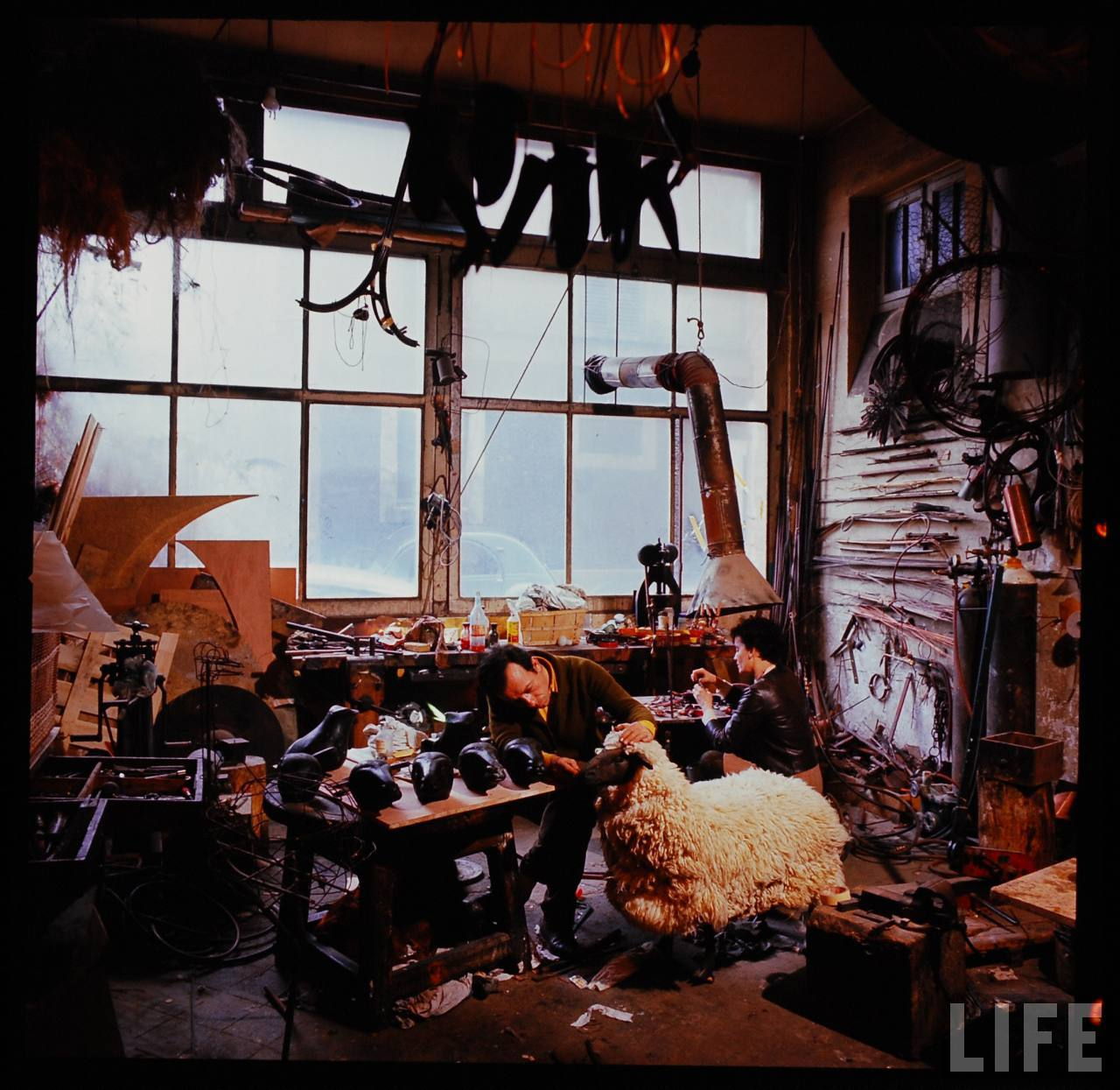 Husband and wife Francois-Xavier (F.X.) & Claude Lalanne at work in their Ury, France studio.