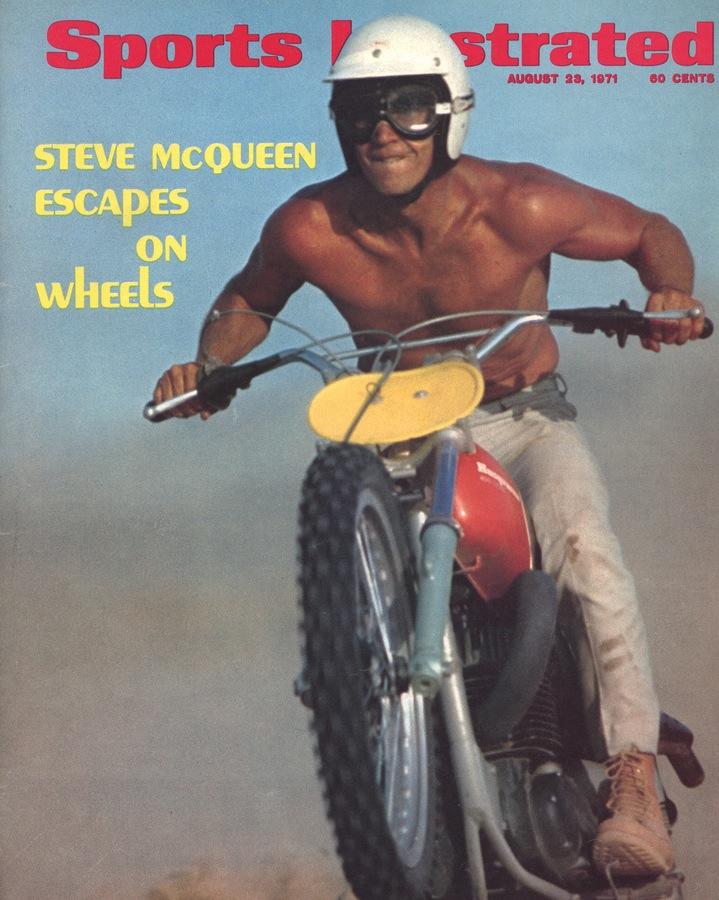Steve McQueen romping on his Husqvarna 400 Cross  --Sports Illustrated, 1971.