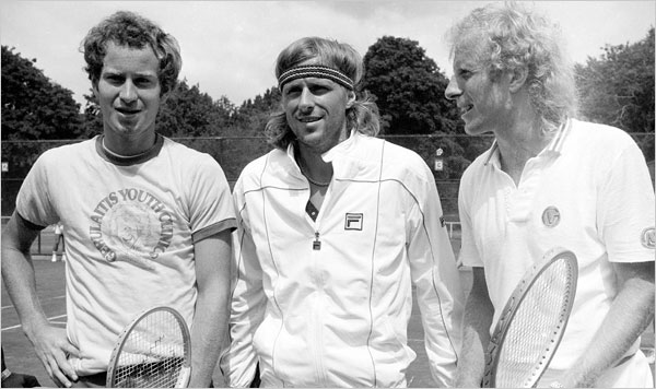 Tennis greats-- John McEnroe, Bjorn Borg and Vitas Gerulaitis.
