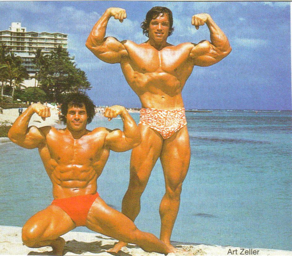 Bodybuilding legends-- Arnold Schwarzenegger and Franco Columbo
