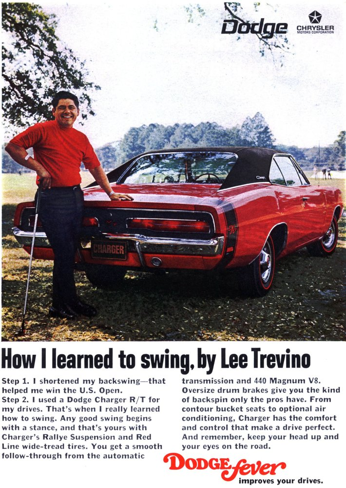 Vintage Lee Trevino Dodge Charger ad