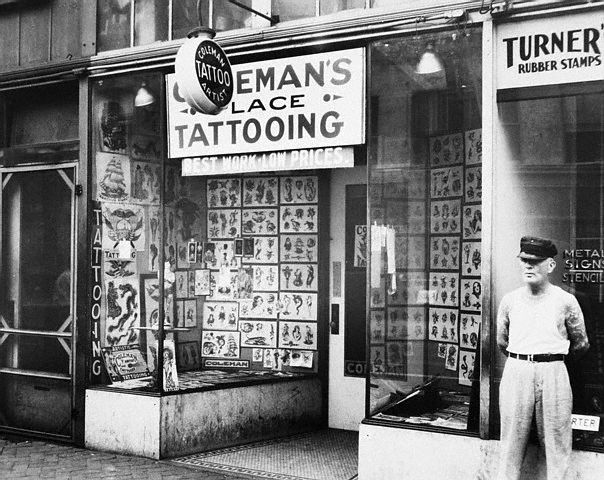 "The Legendary August ""Cap"" Coleman's Tattoo parlor in Norfolk, Virginia --1936."