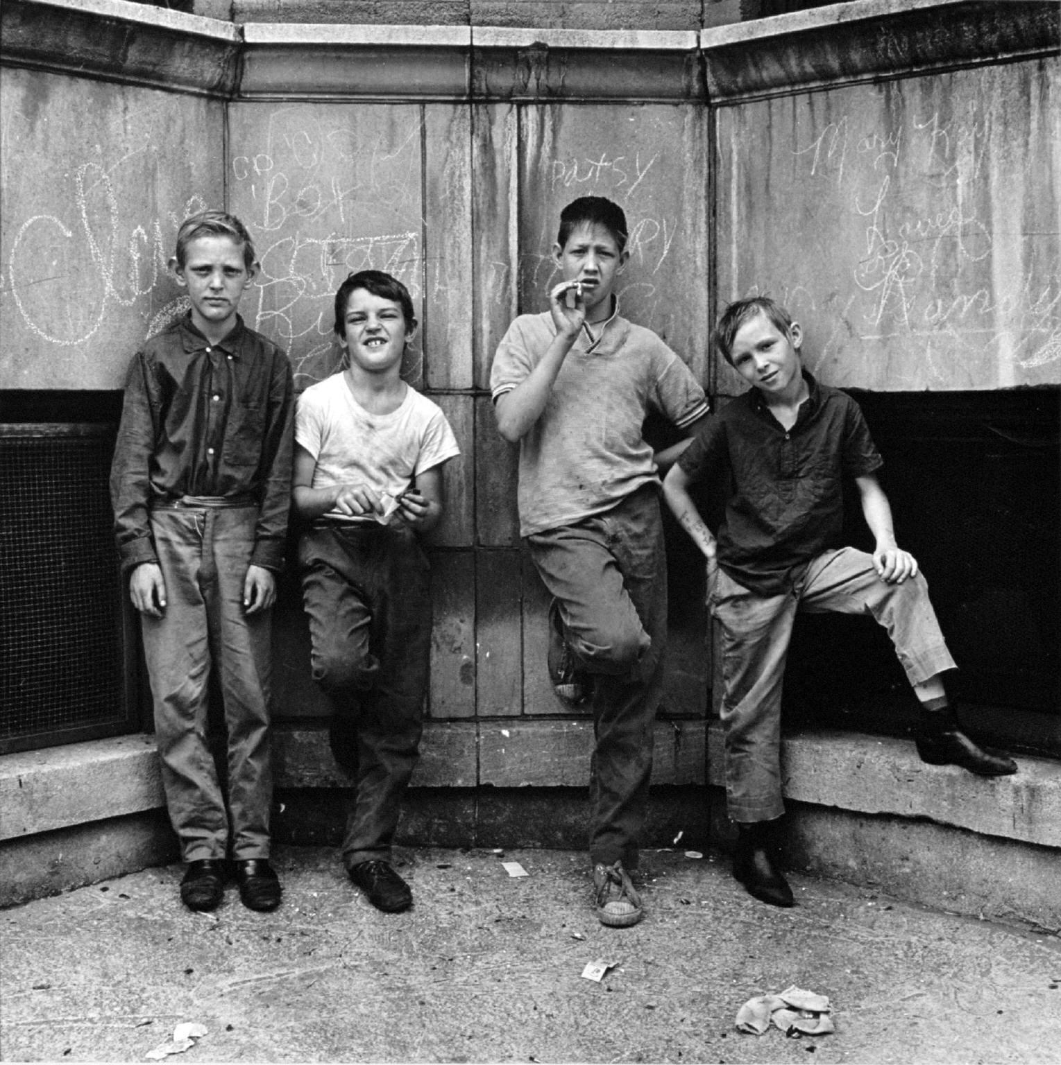 """Four boys, Uptown, Chicago"""" Pictures from the New World by Danny Lyon  --1968."""