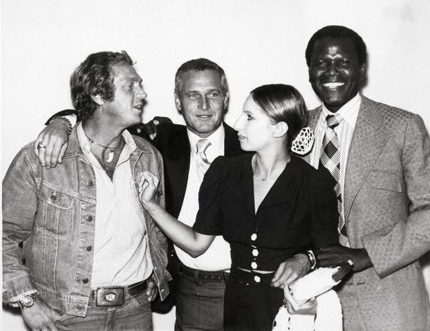 Steve McQueen (in the iconic Lee 101J jacket) Paul Newman, Barbra Streisand and Sidney Poitier at meeting of their own movie production company,  First Artists Production Company, 1972.