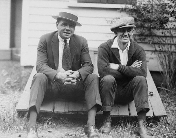 Photo of Babe Ruth with Georges Carpienter in Manhasset, New York. -- June 25th, 1921
