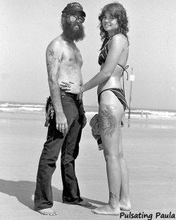 PULSATING PAULA DAYTONA BEACH BIKE WEEK 1980S BIKER COUPLE
