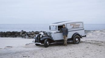 A MEL STULTZ HARLEY DAVIDSON VINTAGE PANEL TRUCK TROG THE RACE OF GENTLEMEN WILDWOOD NJ