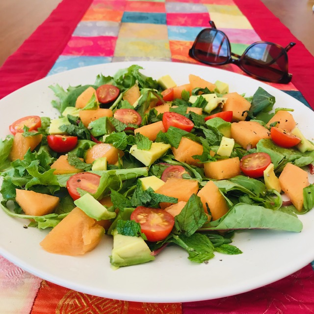 Refreshing melon, mint and lime salad