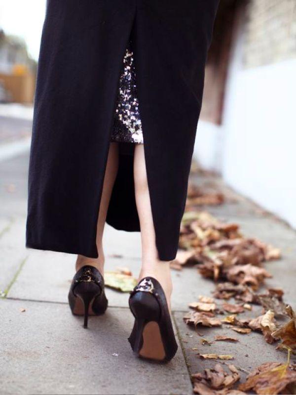 gucci heels, sequin skirt, coat