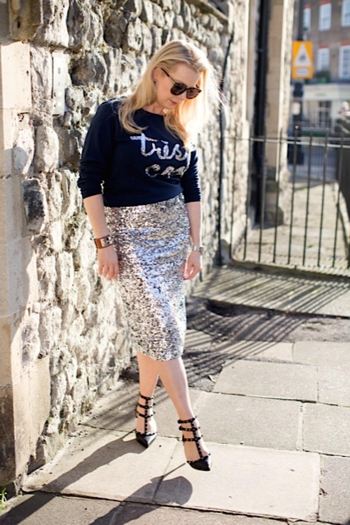 blonde silver sequin