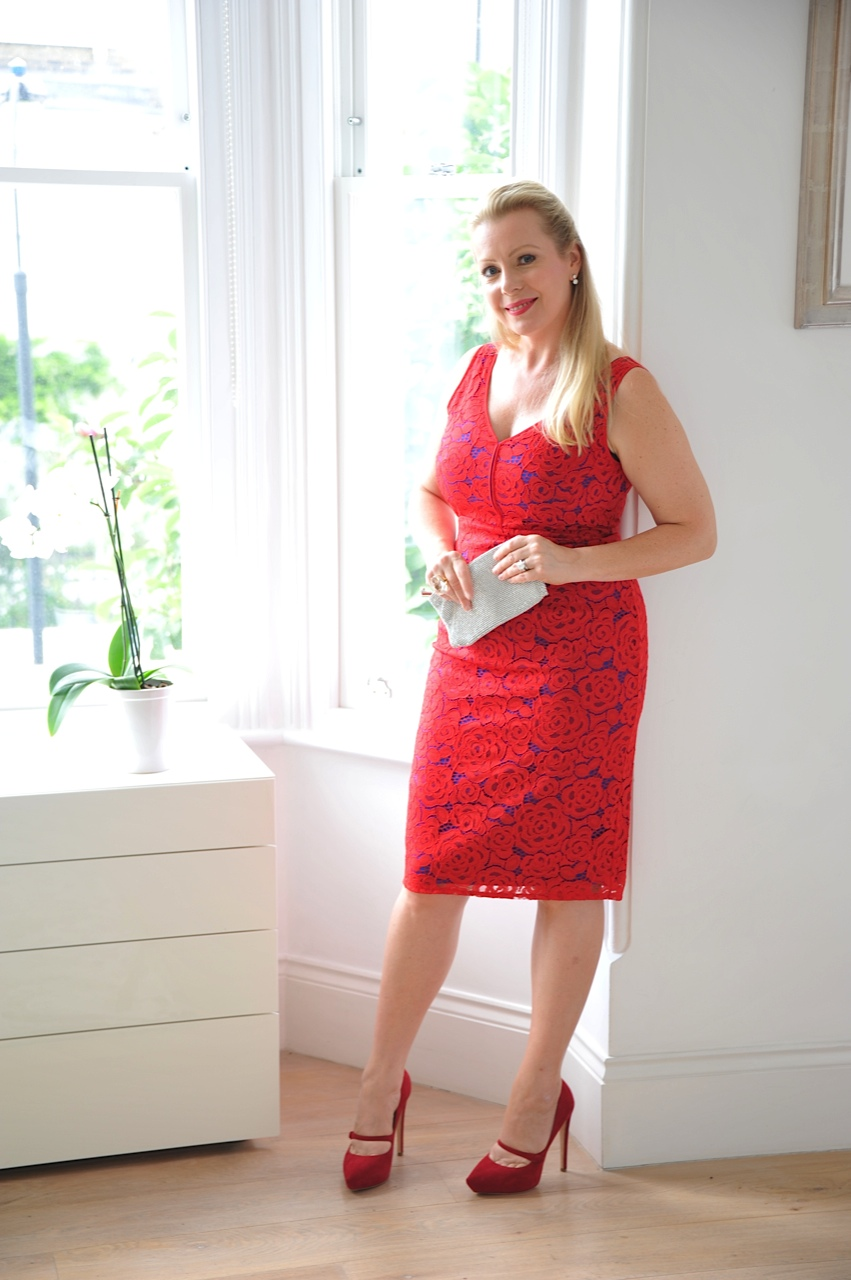 Red lace shift dress M&S