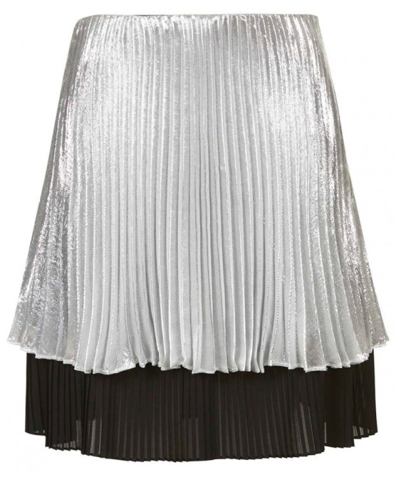 silver pleated Topshop skirt
