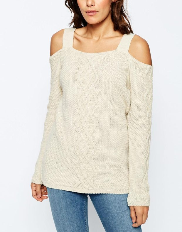 cable sweater off shoulder