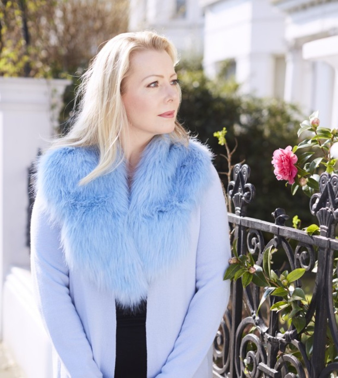 chambray blue coat faux fur