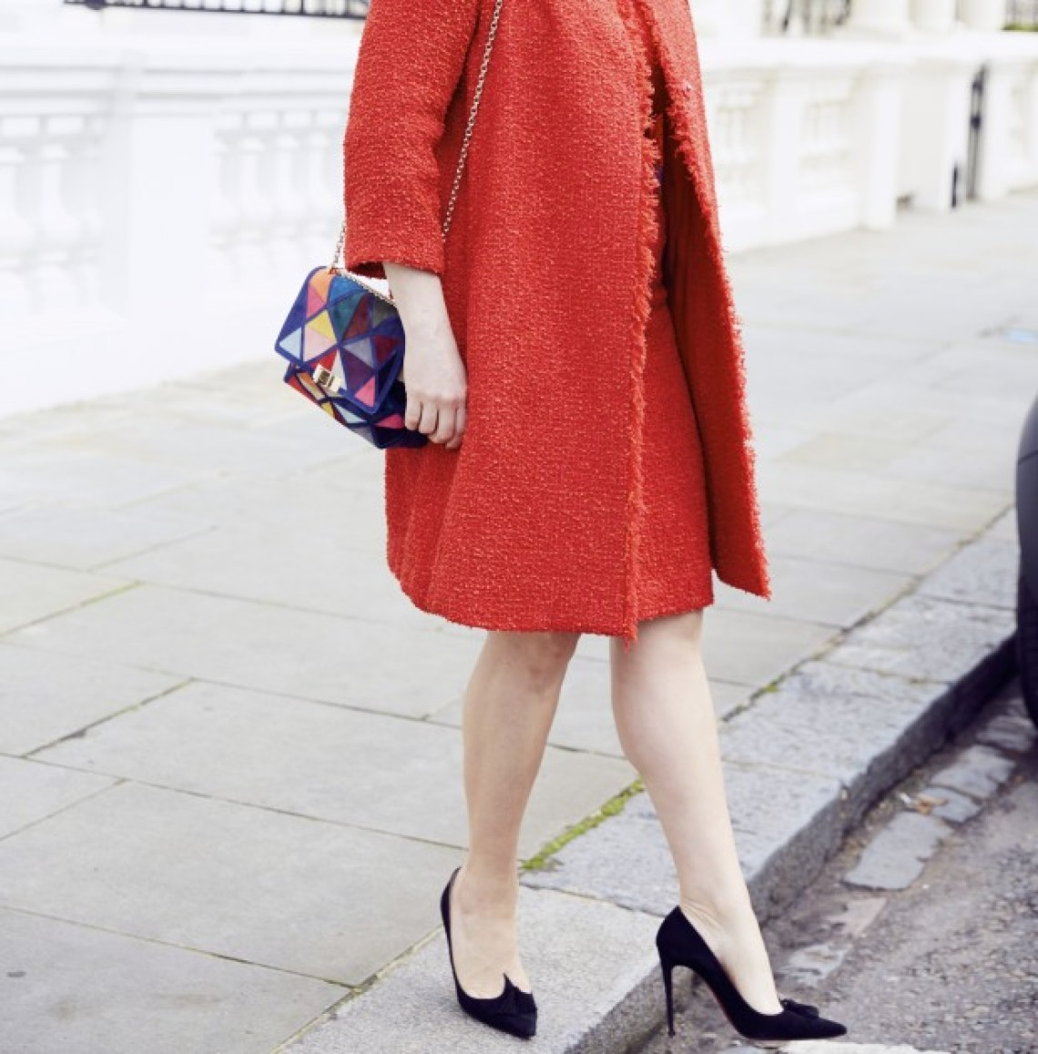 red boucle dress and coat