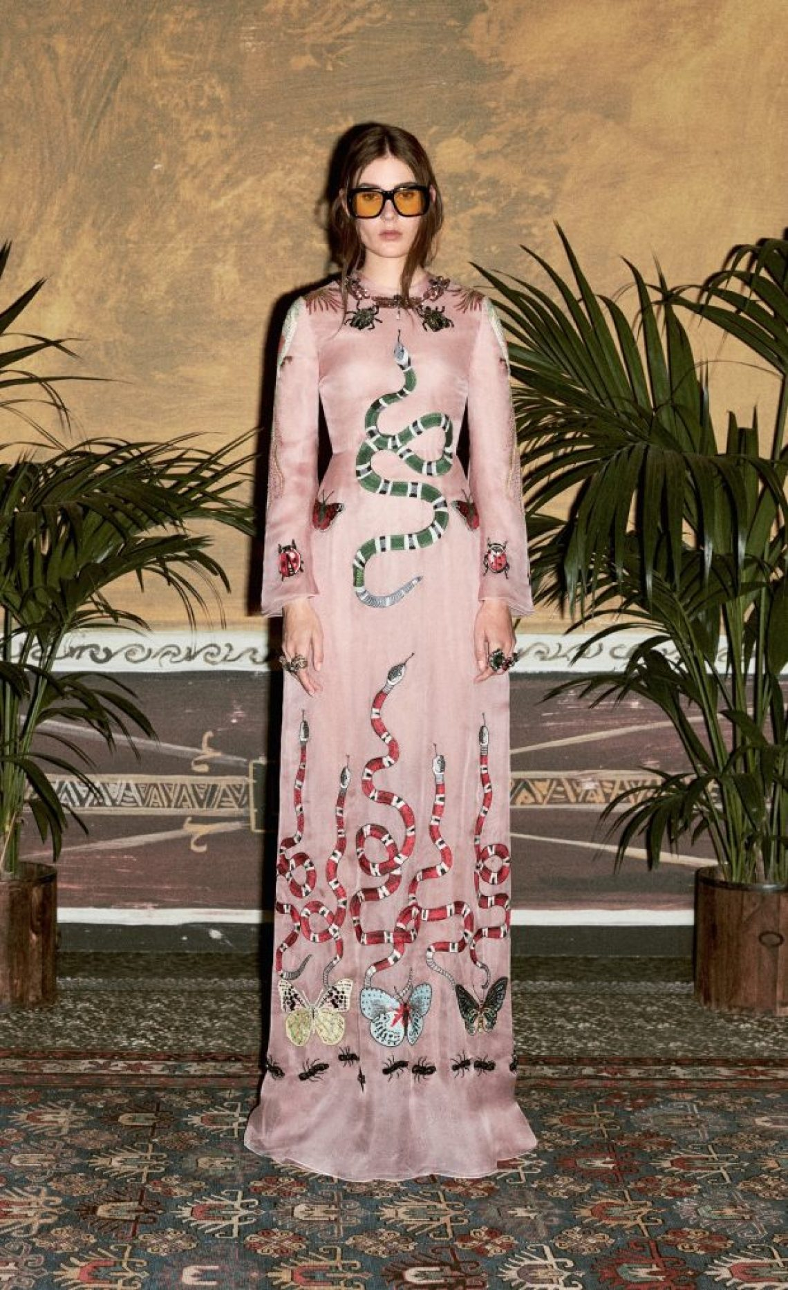 gucci pink snake dress
